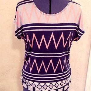 Women's Short Sleeve, Patterned Blouse